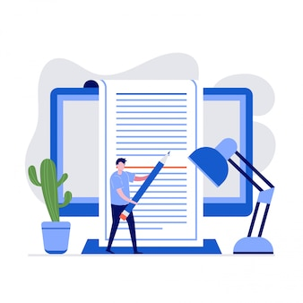 Copywriting  illustration concept with characters. a man holding pencil to writing text on the computer screen.