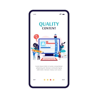 Copywriting and quality content production app onboarding banner
