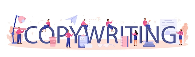 Copywriting typographic header. idea of writing texts, creativity and promotion.