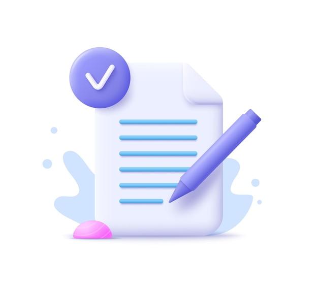 コピーライティング、書き込みアイコン。創造的な執筆とストーリーテリング、教育の概念。教育の概念を書く。 3dベクトルイラスト。