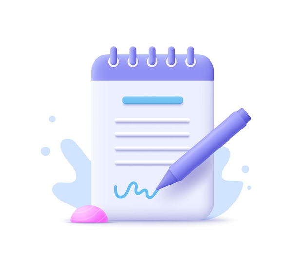コピーライティング、書き込みアイコン。ドキュメントの概念。 3dベクトルイラスト。