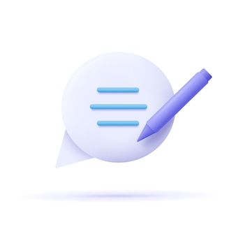Копирайтинг, написание значка. концепция документа. речи пузырь, текст и карандаш. 3d векторные иллюстрации.