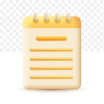 コピーライティング、書き込みアイコン。ドキュメントのコンセプトは黄色です。白い透明な背景の上の3dベクトル図
