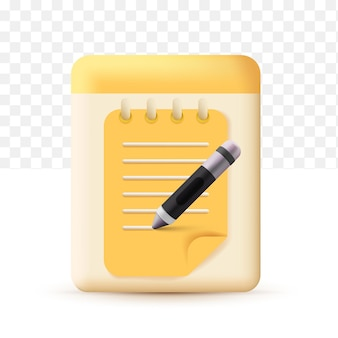 Copywriting, writing icon. document concept yellow with pen. realistic 3d cute style on white transparent background