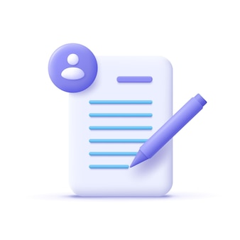 Copywriting writing icon document and pencil writing education concept 3d vector illustration
