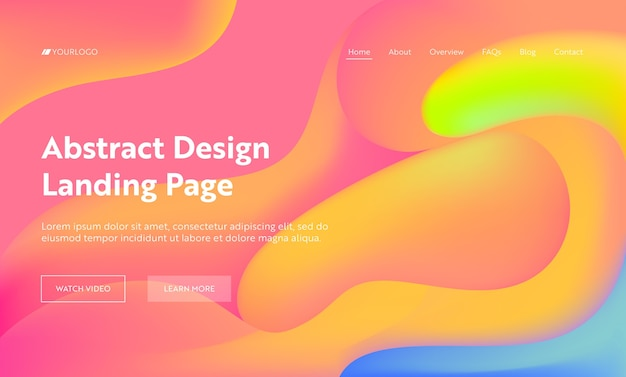 Coral abstract wave landing page background design. trendy digital yellow gradient pattern colorful cover. liquid creative fluid marketing banner website web page. flat cartoon vector illustration