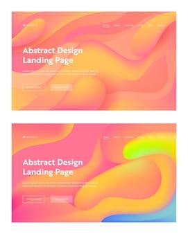 コーラル抽象的な波状のランディングページの背景セット。未来的なデジタルグラデーションカバーパターン要素のデザイン。リキッドクリエイティブフルイドダイナミックカラー背景ウェブサイトウェブページ。フラットベクトル図