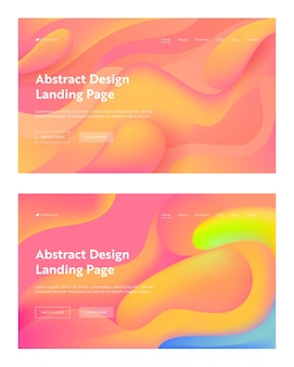 Coral abstract wavy landing page background set.