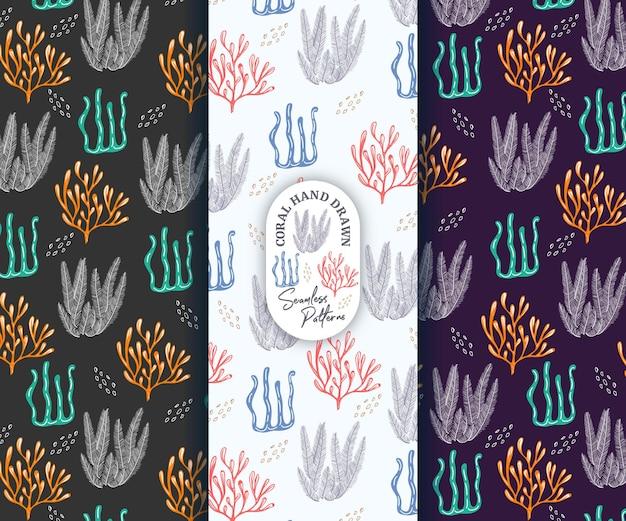 Coral beautiful hand drawn style seamless pattern