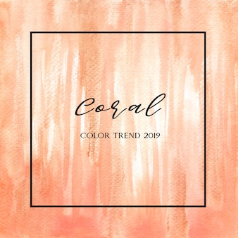 Coral color trendy sea shell watercolor and gold gouache texture background