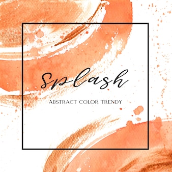 Coral color trendy seashell watercolor and gold gouache texture background
