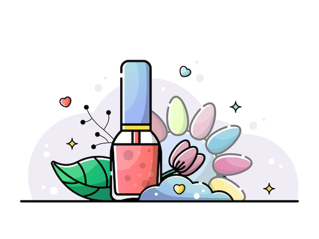 Coral nail polish. nail salon illustration