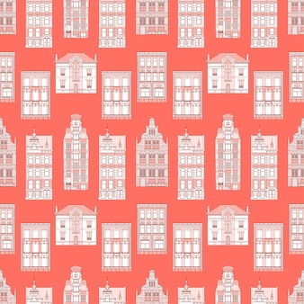 Coral Old City seamless pattern