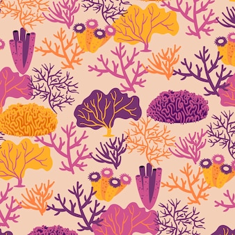 Coral pattern with seaweed template