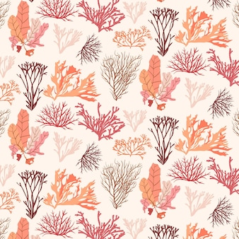 Coral pattern with seaweed