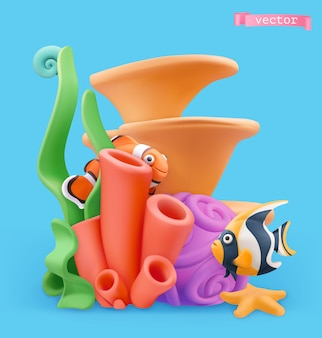 Coral reef and fish 3d illustration