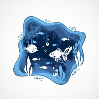 수중 심해의 벡터 페이퍼컷 스타일을 가진 산호초 물고기 종