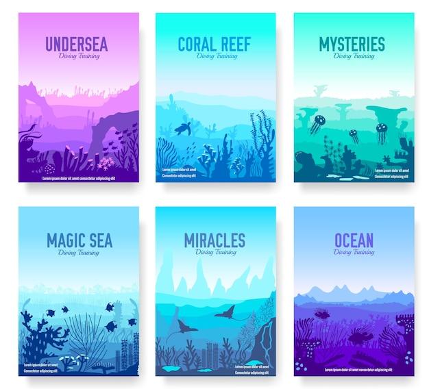 チラシの海のテンプレートのサンゴ礁