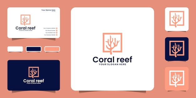 Coral reef logo design inspiration and business card inspiration