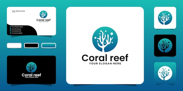 Coral reef logo design inspiration, sea stones, seaweed and business card designs