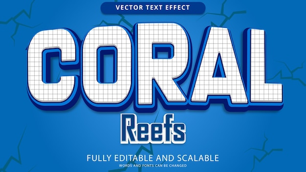 Coral reef text effect editable eps file