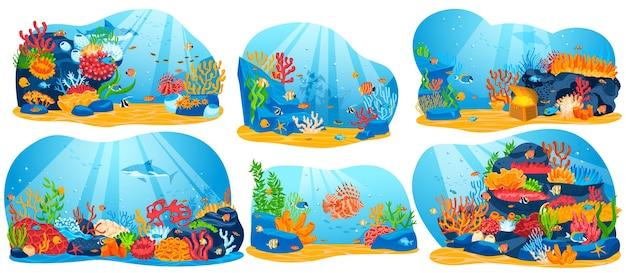 サンゴ礁、水中の海の生物のベクトル図、漫画の平らな海の水族館または海藻と魚の海水コレクション