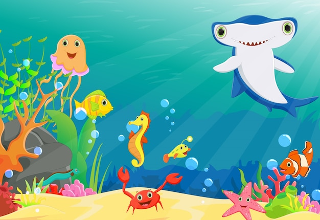 Coral reef with a funny fish and hammerhead shark