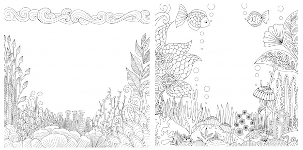Coral reefs frames set with copyspace for printing.  illustration