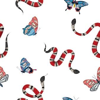 산호 뱀과 열 대 나비 완벽 한 패턴입니다. 섬유 직물, 지문, 벽지에 대한 뱀 패션 배경. 동물 야생 동물 자연 장식 텍스처입니다. 벡터 일러스트 레이 션