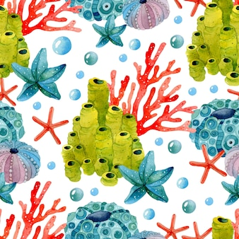 Коралловые морские звезды и риф красочная акварель бесшовный фон