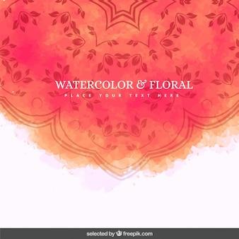 Коралловый акварель и цветочный фон Бесплатные векторы