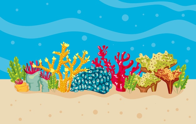 Corals and algaes in sea water nature illustration
