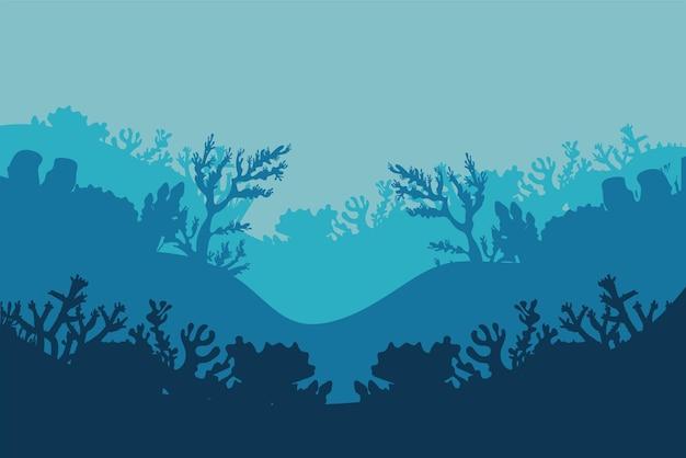 Кораллы и водоросли силуэты природа сцена иллюстрации
