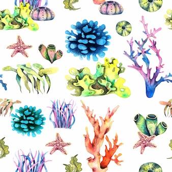 サンゴと海の星のシームレスなパターンの海洋生物