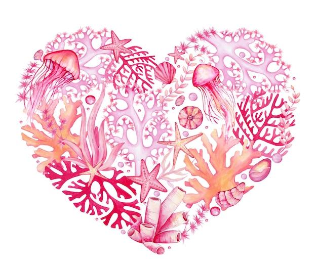 Кораллы, медузы, ракушки, морские звезды. акварельный клипарт, в форме сердца