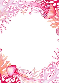 Кораллы, медузы, ракушки, морские звезды. акварельная рамка
