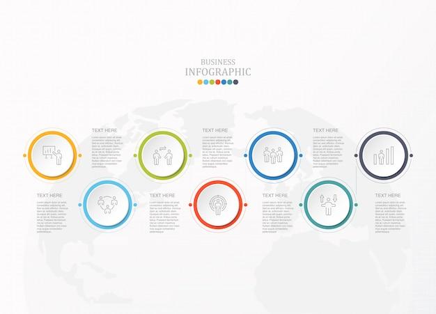 ビジネスコンセプトのインフォグラフィックと仕事の男性アイコンをcorcles。