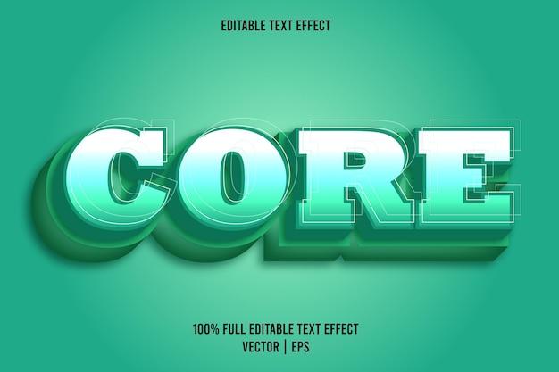 Core 3 dimension editable text effect teal color