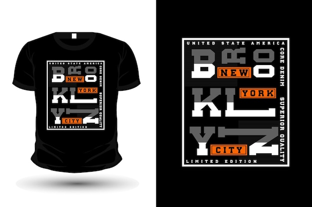 Core denim brooklyn typography t shirt mockup design