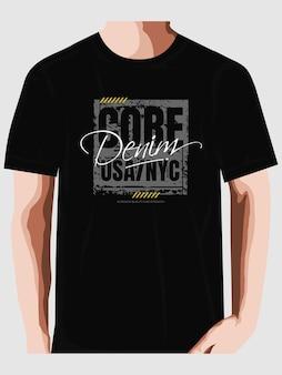 코어 데님 뉴욕시 t 셔츠 디자인 인쇄 술 벡터 premium 벡터