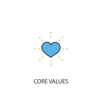Core values concept 2 colored line icon. simple yellow and blue element illustration. core values concept outline symbol design
