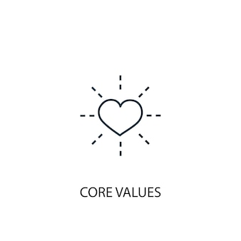Core values concept line icon. simple element illustration. core values concept outline symbol design. can be used for web and mobile ui/ux