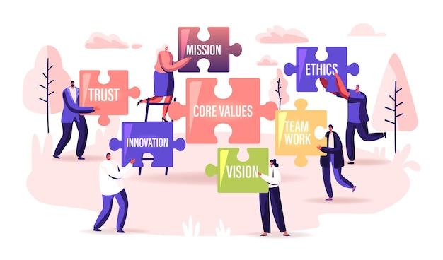 핵심 가치 개념입니다. 기본적인 사회 및 비즈니스 원칙 신뢰, 사명, 윤리, 비전 또는 혁신을 가진 거대한 퍼즐 조각을 들고 있는 작은 사업가 캐릭터. 만화 사람들 벡터 일러스트 레이 션