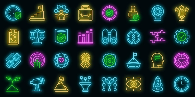 Core values icons set. outline set of core values vector icons neon color on black