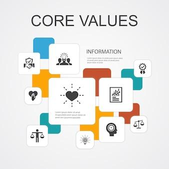 コア値インフォグラフィック10線アイコンテンプレート。信頼、誠実、倫理、誠実さのシンプルなアイコン