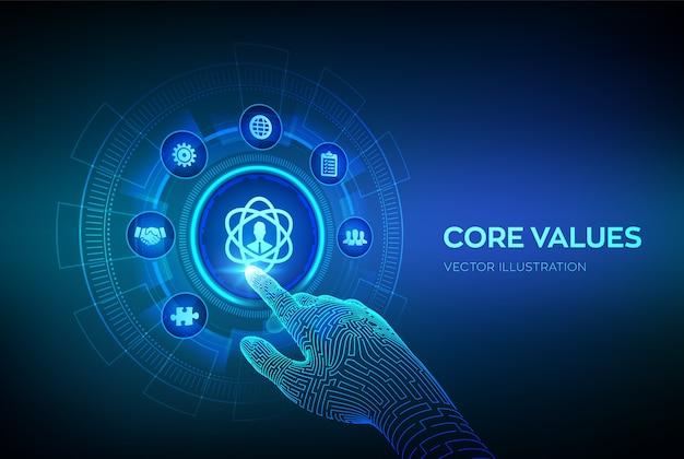 핵심 가치. 가상 화면에 책임 윤리 목표 회사 개념. 디지털 인터페이스를 만지고 로봇 손.