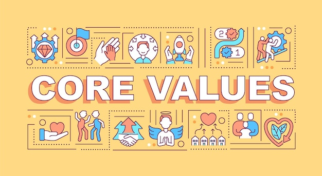 Core values word concepts banner