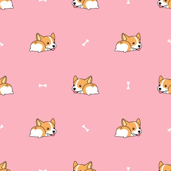 Corgi butt with bone cartoon seamless pattern