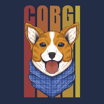 Corgi dog bandana vector illustration