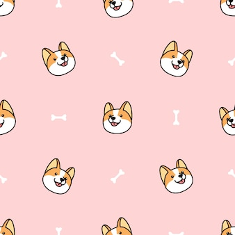 Corgi dog face with bone seamless pattern